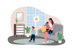 Mother with fighting children 2D vector web banner, poster