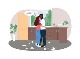 Couple makes up 2D vector web banner, poster