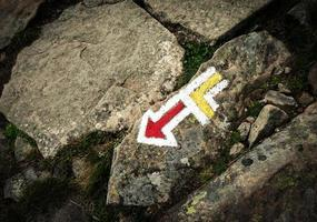 Hiking sign on rocks photo