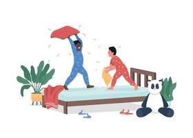 Kids play in bedroom flat color vector detailed characters