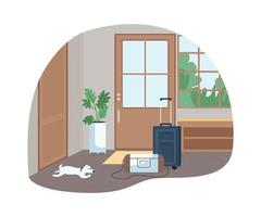Hallway with baggage for family trip 2D vector web banner, poster
