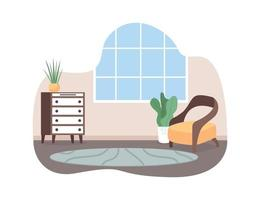 Living room space 2D vector web banner, poster