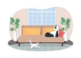 Lounge room 2D vector web banner, poster