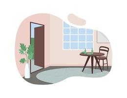 House hall 2D vector web banner, poster