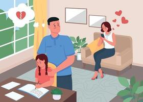 Infidelity problem in family flat color vector illustration