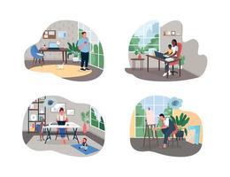 Freelancer in home office 2D vector web banner, poster set