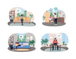 Aislamiento estrés y ansiedad banner web de vector 2d, conjunto de carteles