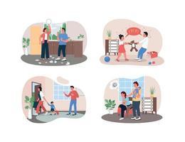 Arguing family 2D vector web banner, poster set