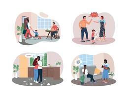 Family breakup 2D vector web banner, poster set