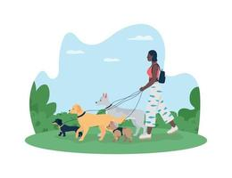 Dog walking 2D vector web banner, poster