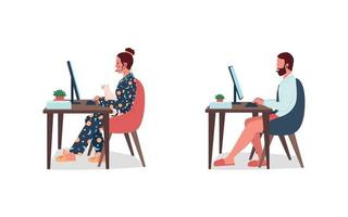 Freelancers in underwear at work flat color vector character set