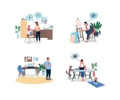Stressed remote worker flat color vector faceless and detailed character set