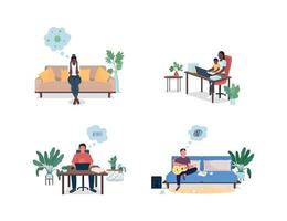 Stressed men and women at home flat color vector faceless and detailed characters set