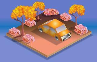 Isometric Yellow Cab in a Park vector