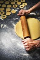 Rolling dough for doughnuts photo