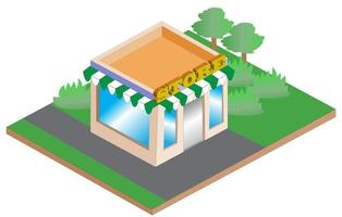 isometric store illustration vector