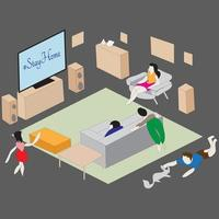 isometric stay home Illustration