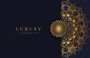 Luxury background with gold islamic mandala ornament on dark surface vector
