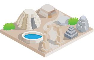 Isometric Ancient Dwelling Site vector