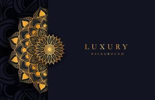 Luxury background with gold islamic arabesque ornament on dark surface vector