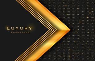 Luxury elegant background with gold shape and line composition on dots halftone pattern. Elegant cover template vector