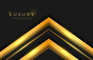 Fondo elegante de lujo con forma de oro en capas y composición de líneas. plantilla de portada elegante vector