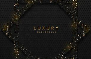 Luxury elegant background with shiny gold dotted pattern isolated on black. Abstract realistic neomorphism background. Elegant template vector