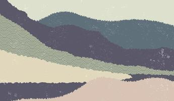 Landscape background with mountain scenery decorated with japanese wave pattern. Vector illustration of travel and adventure theme with abstract nature landscape