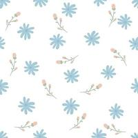 Cute hand drawn little flowers seamless pattern. vector