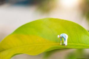 Pintor en miniatura para colorear sobre una hoja verde con un fondo verde borroso, concepto de medio ambiente foto