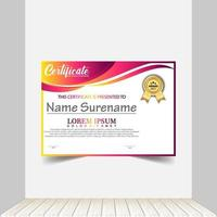 Modern certificate template in gradation and gold colors, luxury and modern style and award style vector image. Suitable for appreciation. Premium vector.