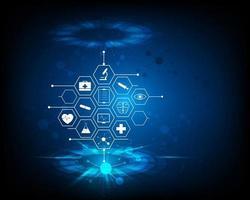 Patrón de icono de atención médica, ilustración de diseño de fondo de concepto de innovación médica vector