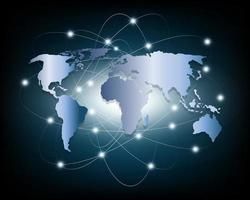 Global business network on blue background vector