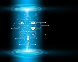 Icono de atención médica patrón concepto de innovación médica sobre fondo azul. vector