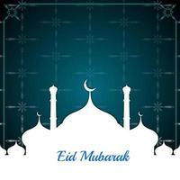 beautiful mosque scene eid mubarak background vector