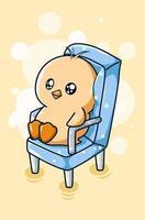 cute duckling sitting on a chair, animal cartoon illustration vector