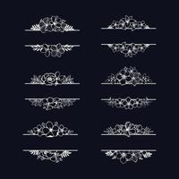 conjunto de separadores blancos vintage florales decorativos vector