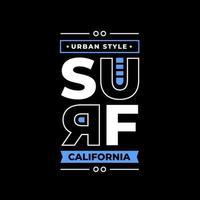 surf california tipografía moderna letras diseño de ropa vector