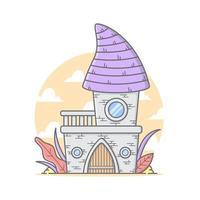 Linda pequeña casa de castillo con ilustración de vector de color pastel