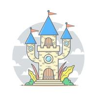 Cute castle cartoon house with pastel color vector illustration