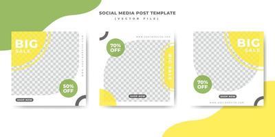 Plantilla de banner de publicación de redes sociales verde y amarillo vector