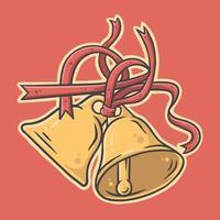campanas de oro con cintas rojas ilustración vectorial vector