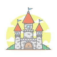Linda casa de dibujos animados de castillo de reino rojo con ilustración de vector de color pastel