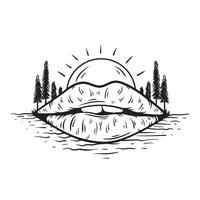 Mouth with sun and trees vector illustration