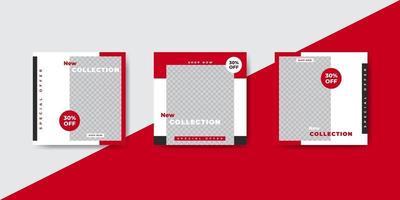 plantilla de banner de publicación de redes sociales de moda roja vector
