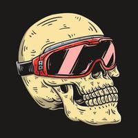 cráneo con ilustración de vector de gafas de jinete