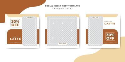 Menú de comida marrón para la plantilla de banner de publicación de redes sociales de restaurante vector