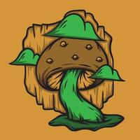 Mushroom with green clouds cartoon vector illustration