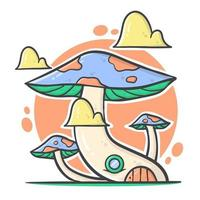 Cute full color of mushroom cartoon house with pastel color vector illustration