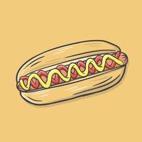 Hotdog hand drawn vector illustration
